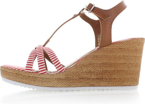 640be2f5a10a2 Tamaris Hnedo-červené kožené platformové sandále 1-28380 - Glami.sk