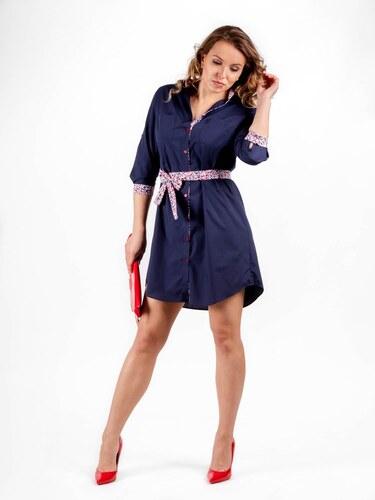 b2a7f4855f75 VERSABE Dámske košeľové šaty VS-DS 1840 tmavo modré - Glami.sk