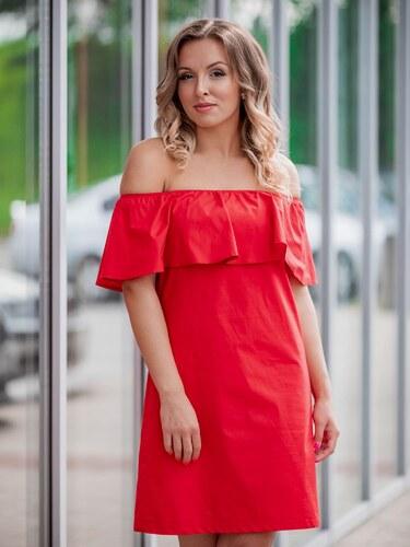 b2648b3f0d VERSABE Dámske šaty s volánom VS-SA 1858 červené - Glami.sk
