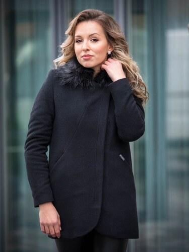 8de4e2bc7c VERSABE Luxusný dámsky kabát s kožušinkou DEYSI čierny - Glami.sk