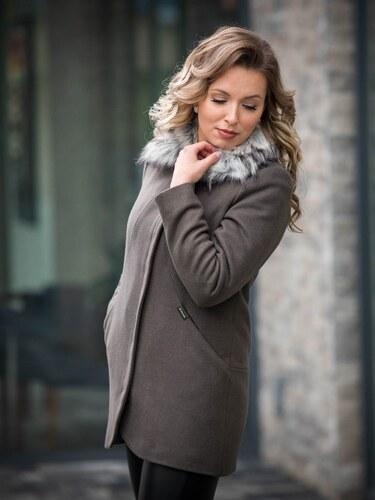 d3df18826d VERSABE Luxusný dámsky kabát s kožušinkou DEYSI tmavá oliva - Glami.sk