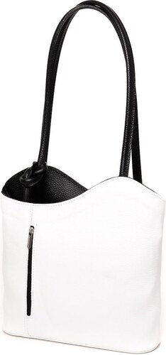 1d3ae6d21f79 N.A. Fehér-fekete olasz bőr női táska - Glami.hu