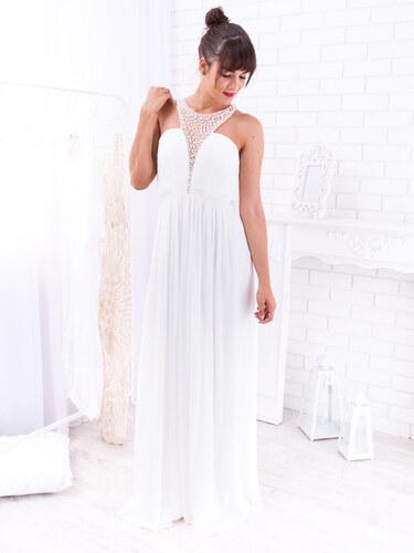 ece6f0553253 www.glashgirl.sk Biele dlhé spoločenské šaty s perličkami Chimene ...