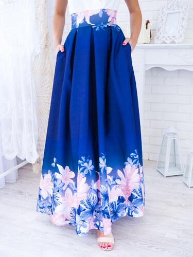 4c422883e42a www.glashgirl.sk Tmavomodrá dlhá elegantná sukňa s ľaliami - Glami.sk