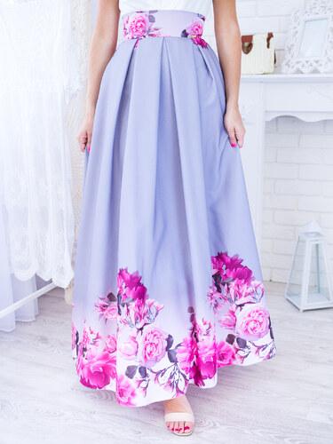 b1f0e89e6222 www.glashgirl.sk Sivá dlhá elegantná sukňa s ružovými kvetmi - Glami.sk