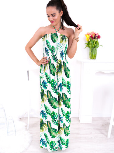60536b5afa5d www.glashgirl.sk Zeleno-biele dlhé vzorované šaty okolo krku - Glami.sk