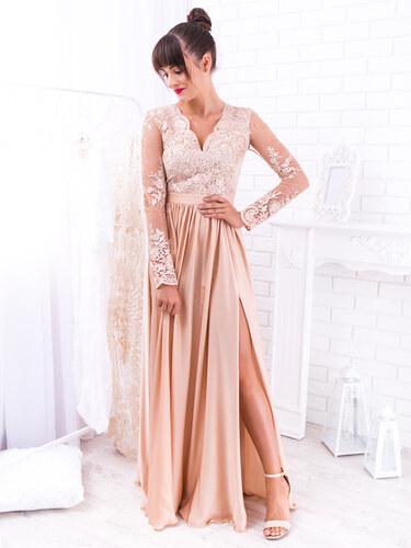 f0f8267bd830 www.glashgirl.sk Zlaté dlhé spoločenské šaty s čipkou s dlhým rukávom Luna