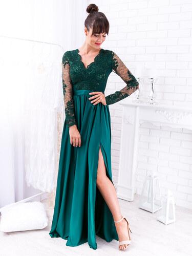 bb58286d1d0e www.glashgirl.sk Zelené dlhé spoločenské šaty s čipkou s dlhým rukávom Luna