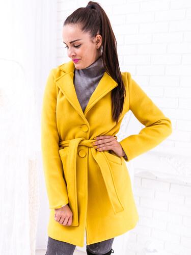84c34170ce www.glashgirl.sk Žltý jesenný kabát na uväzovanie s gombíkmi - Glami.sk