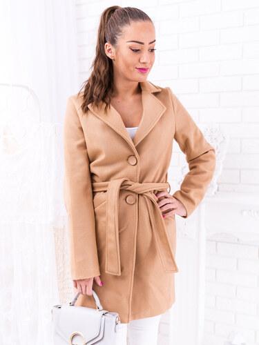 ba04df9353 www.glashgirl.sk Béžový jesenný kabát na uväzovanie s gombíkmi ...