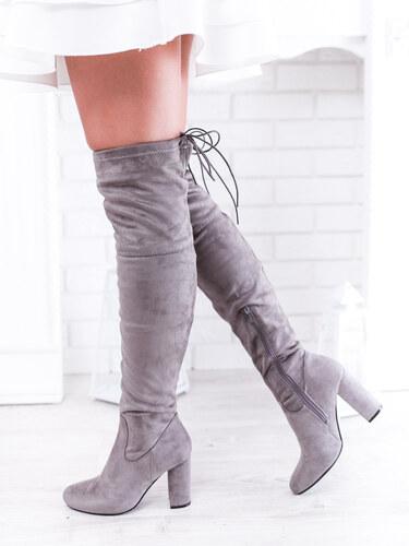 f3a51adcaf www.glashgirl.sk Sivé vysoké čižmy nad koleno na zips - Glami.sk