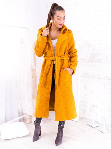 b236bfce9c www.glashgirl.sk Žlto-oranžový huňatý kabát na uväzovanie - Glami.sk