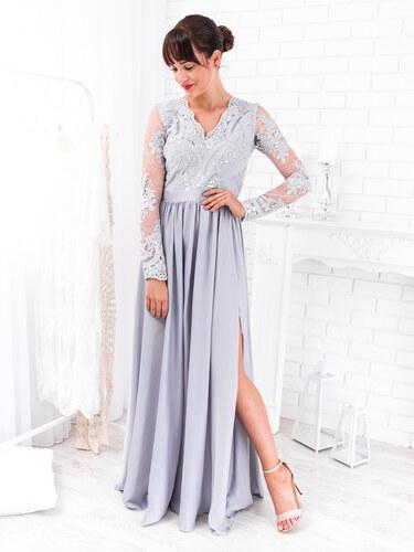 774510f1d8ee www.glashgirl.sk Sivé dlhé spoločenské šaty s čipkou s dlhým rukávom Luna