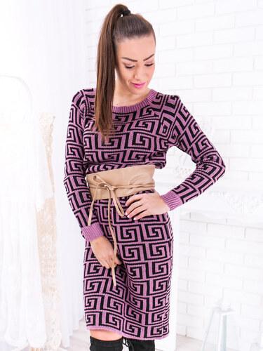 0ee0a2712801 www.glashgirl.sk Fialové pletené šaty s čiernym vzorom - Glami.sk