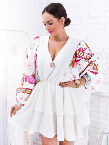 32fff39fad19 www.glashgirl.sk Biele krátke šaty so vzorovými rukávmi Fenix - Glami.sk