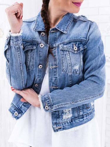 7538cecf37 www.glashgirl.sk Modrá skrátená rifľová bunda s gombíkmi - Glami.sk