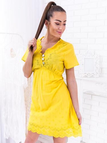 a82efa47c www.glashgirl.sk Žlté šaty s krátky rukávom s uväzovanim zo zadu ...