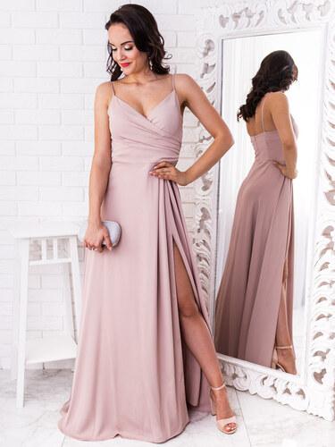 cce0aace7a99 www.glashgirl.sk Béžové elegantné šaty s rozparkom Lisa - Glami.sk