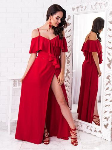 1c7c49f1cd4b www.glashgirl.sk Červené dlhé spoločenské šaty s volánmi Elisie ...