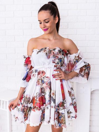 286ee0fca61c www.glashgirl.sk Biele krátke kvetované šaty cez ramená Mia - Glami.sk