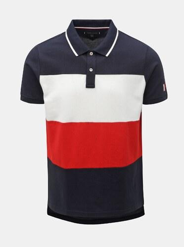 f841fa3559 Červeno-modré pánské pruhované slim fit polo tričko Tommy Hilfiger ...