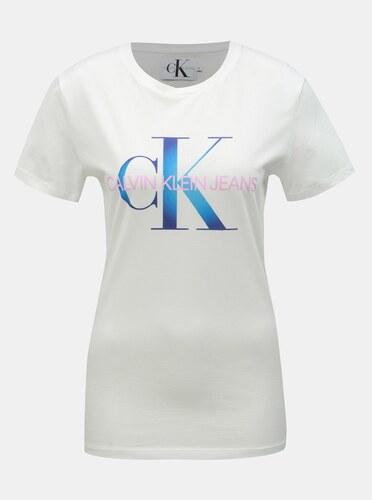 641f9775b Bílé dámské tričko s potiskem Calvin Klein Jeans - Glami.cz