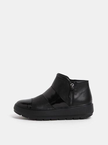 12003cb008 Čierne dámske kožené členkové topánky na platforme Geox Kaula - Glami.sk