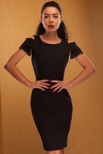 3ba702a12cf9 -34% Glamorous by Glam Dámske šaty so strapcami na ramenách - čierna