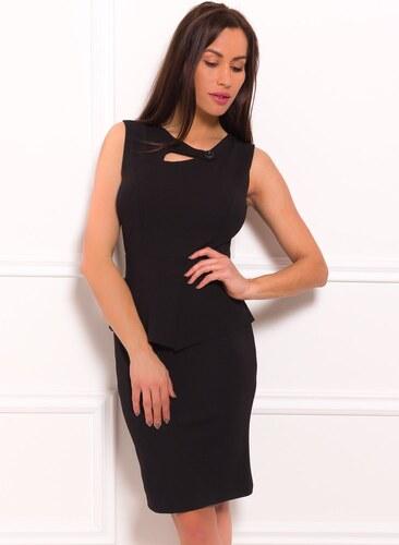 eebeb5dafd21 -35% Glamorous by Glam Dámske puzdrové peplum šaty a gombíkom - čierna