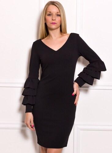 4f32b6b1fd5b -50% Glamorous by Glam Dámske luxusné šaty s dlhým rukávom a volánmi -  čierna