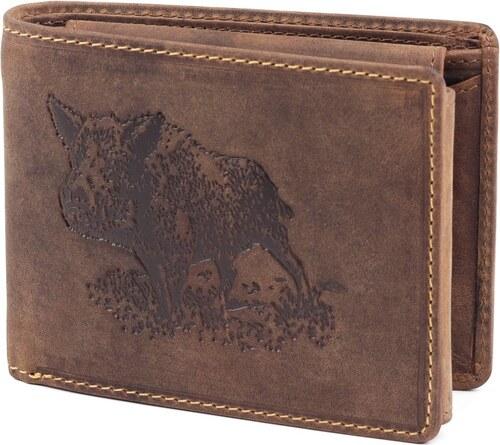 fa40c5e8f6 GreenDeed vaddisznó mintás barna férfi bőr pénztárca - Glami.hu