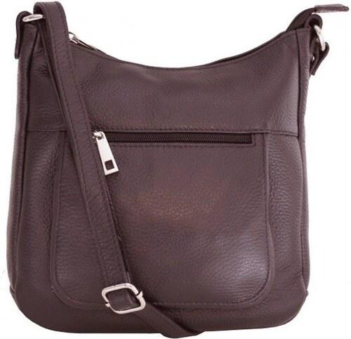 57086ba100 Talianske kožené kabelky dámske cez rameno stredné čokoládové Zolana ...