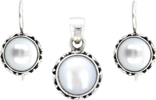 1db4ef54e Polodrahokam Strieborná súprava (Ag925) prívesok a náušnice s bielou  riečnou perlou