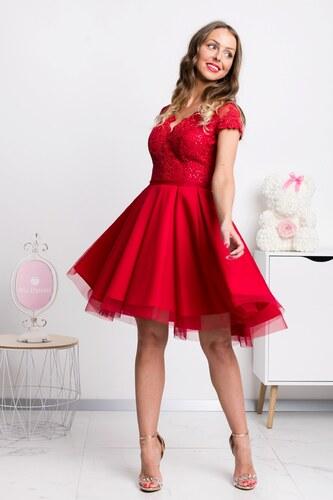 32f89d543 Mia Dresses Červené krátke šaty s tylovou sukňou a krajkou - Glami.sk