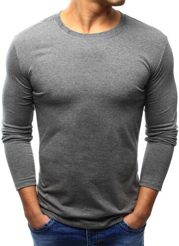 ed74f55eb2602 BestLook Pánske jednofarebné tričko s dlhým rukávom (lx0419) - antracitové