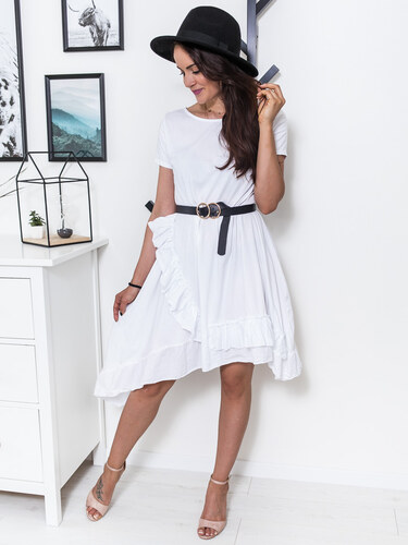 fb754834fe www.glashgirl.sk Biele šaty s krátkym rukávom doplnené volánom Cathy ...