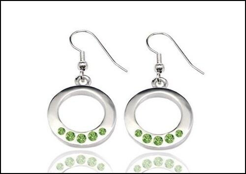 Kruhové zelené náušnice s kamínky