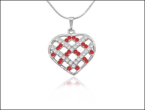Náhrdelník červené Srdce mřížkované