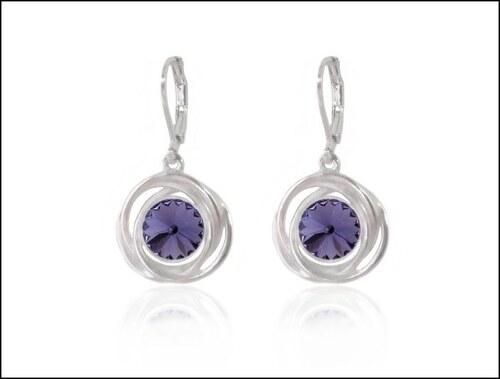 Kroužkové fialové náušnice s kamínkem
