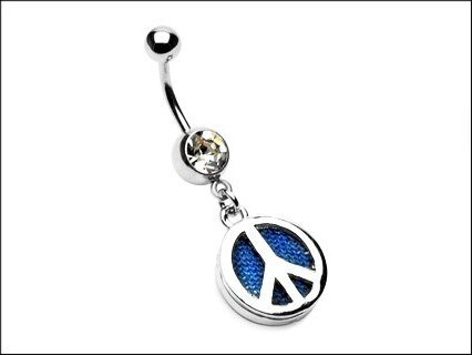 Piercing do pupíku modrý Peace