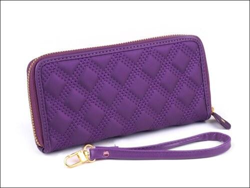 Hladká fialová peněženka s prošíváním