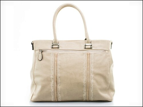 Stylová béžová kabelka s prošíváním - zn. Mahel