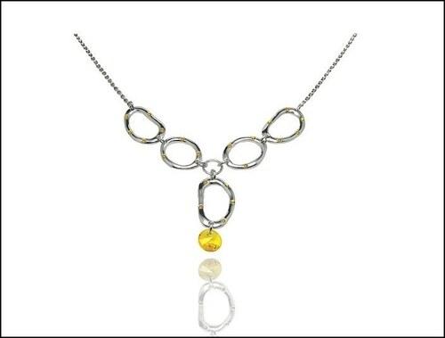Krásný žlutý náhrdelník s kamínkem