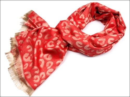 Výjimečná červená pashmina s leopardím vzorem