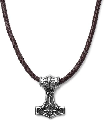 94526eaa3 Fort Tempus Obojstranný hnedý kožený náhrdelník Viking - Glami.sk