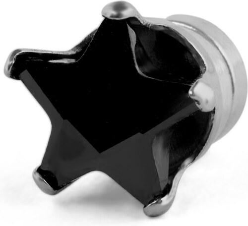 8cc726797 Fort Tempus 7 mm malá čierna kryštálová magnetická náušnica v tvare hviezdy