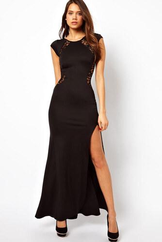 797e706d20d Dlouhé černé šaty s rozparkem - Glami.cz