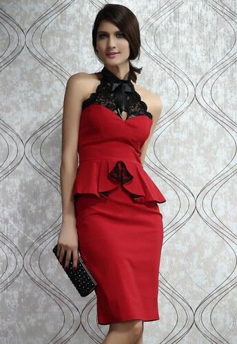 e8c0af87a152 Levné peplum midi červené šaty Sonia - Glami.cz