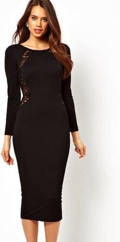 Černé midi šaty s dlouhými rukávy Elegant - Glami.cz 26aa33f109