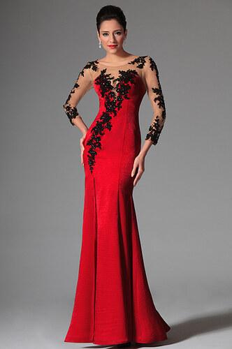 MiaBella Červené plesové šaty zdobené krajkou Barva  jako na obrázku ... 1256c6e7ee